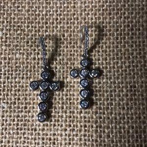 Crystal cross silver tone dangling earrings new